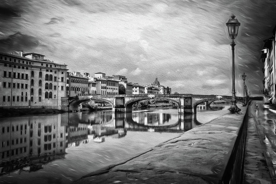 Florence Italy After The Rain Black And White Photograph