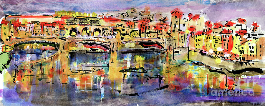 Florence Italy Ponte Vecchio Twilight Mood Painting by Ginette Callaway