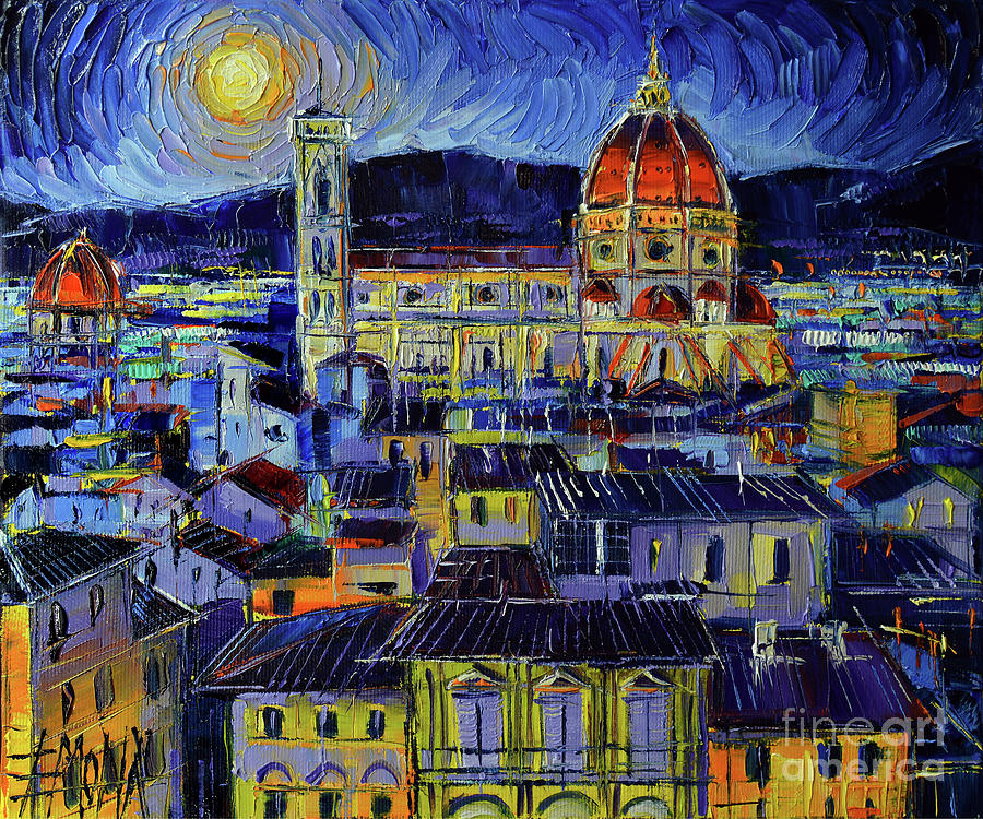 FLORENCE ROOFTOPS AND DUOMO NIGHT VIEW by Mona Edulesco