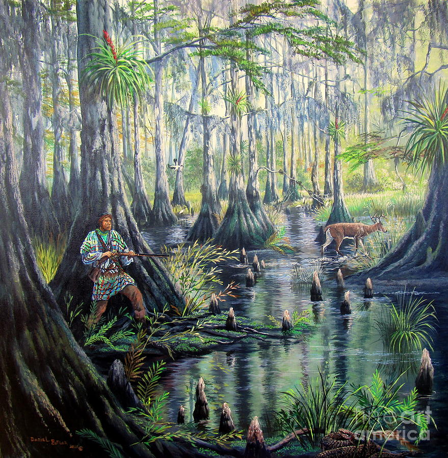 Cypress Swamp Painting - Florida Seminole Indians-Shadows Amongst the Shadows by Daniel Butler
