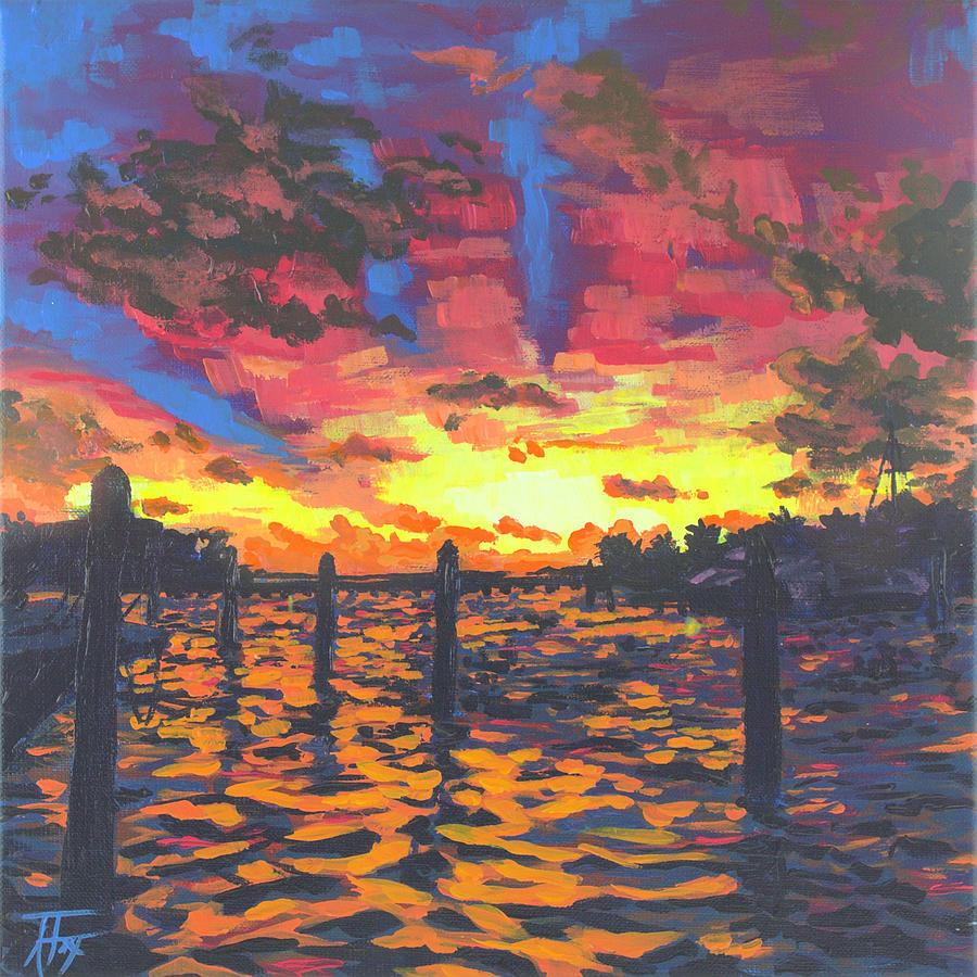 Sunset Painting - Florida Sunset by Allison Fox