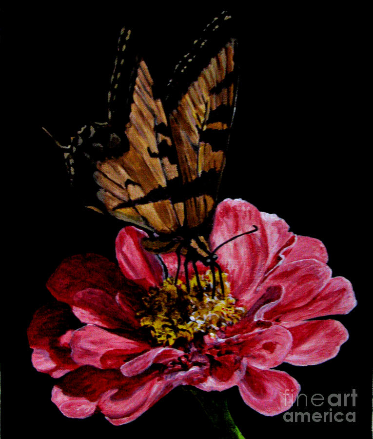 Flower And Butterfly Painting by Nancie Johnson