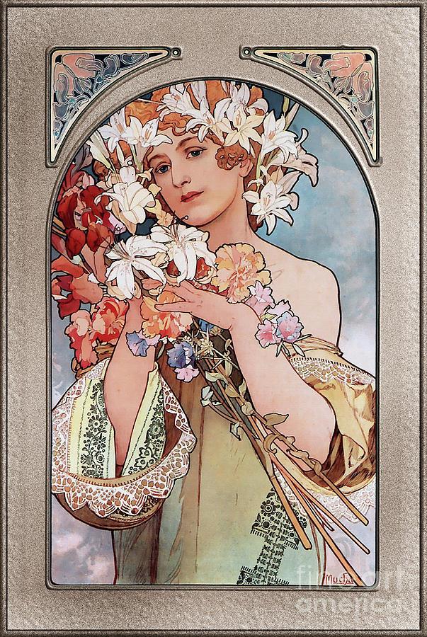 Flower by Alphonse Mucha Art Nouveau Vingtage Art Painting ...