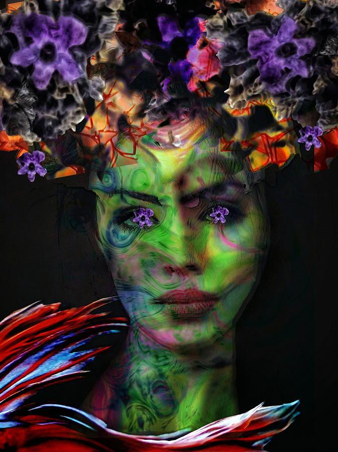 Surrealism Digital Art - Flower eyes girl by Gunilla Munro Gyllenspetz