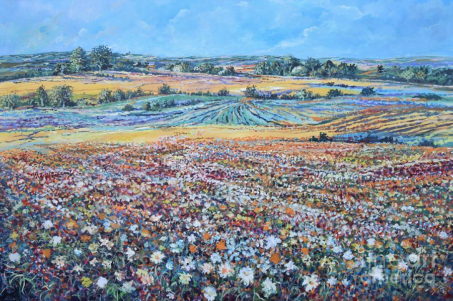 Flower Painting - Flower Field by Sinisa Saratlic