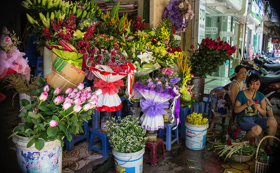 Flower Sellers Photograph - Flower Sellers in Vietnam by Venetia Featherstone-Witty
