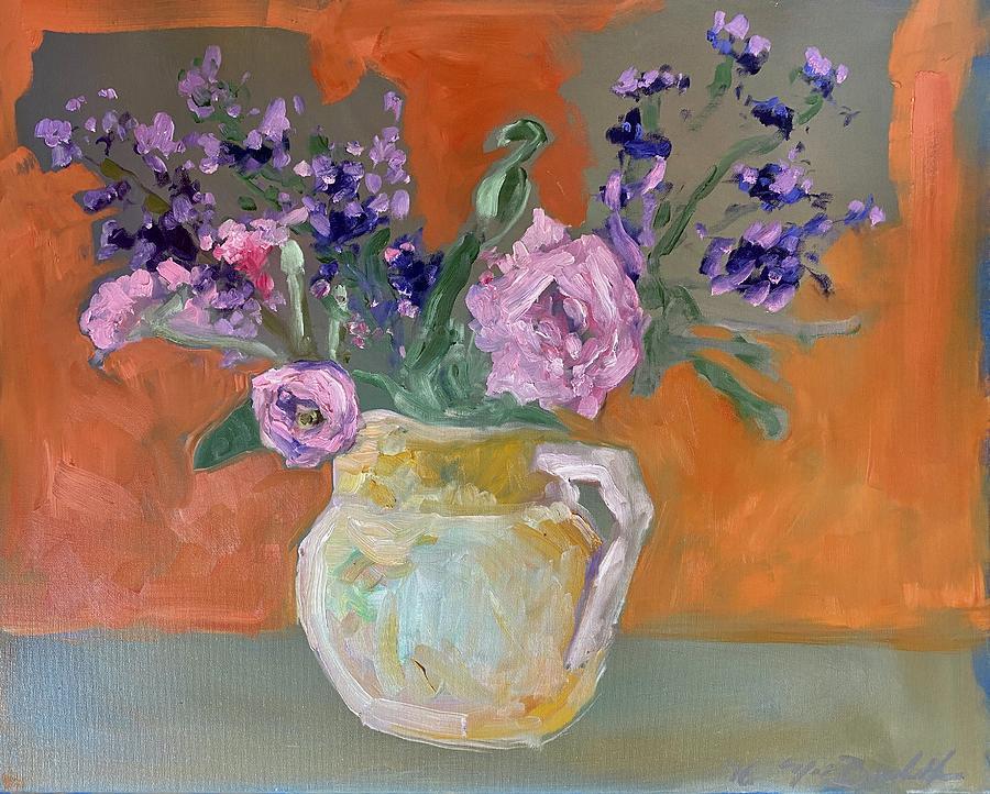 Flower Vase Painting - Flower Vase with an Orange Background by Noe Badillo