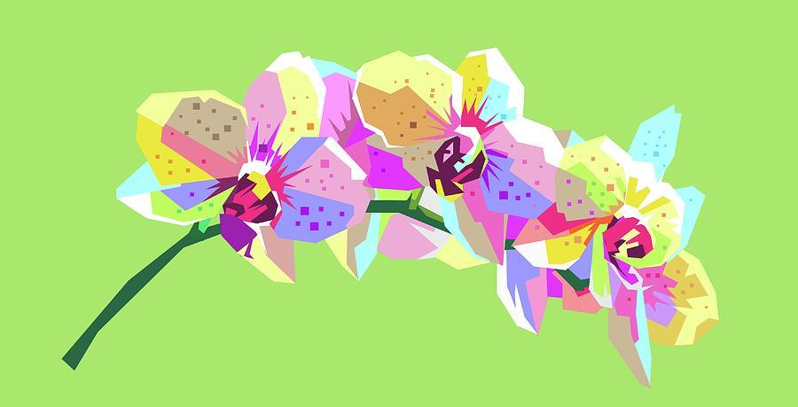 Flower Wpap Pop Art Green Background Digital Art