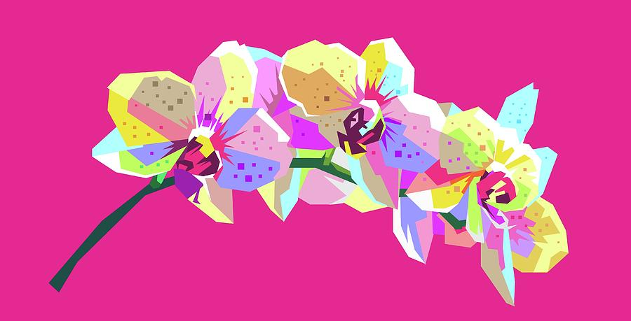Flower Wpap Pop Art Pink Background Digital Art