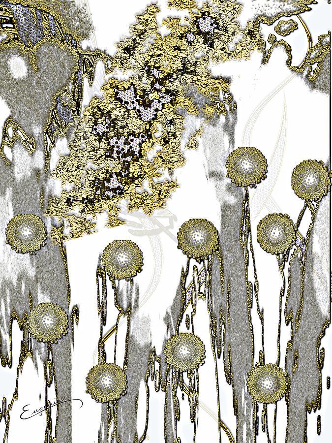 Abstract Digital Art - Flowers Basking in the Golden Sun by Eugenia Martini-Jarrett