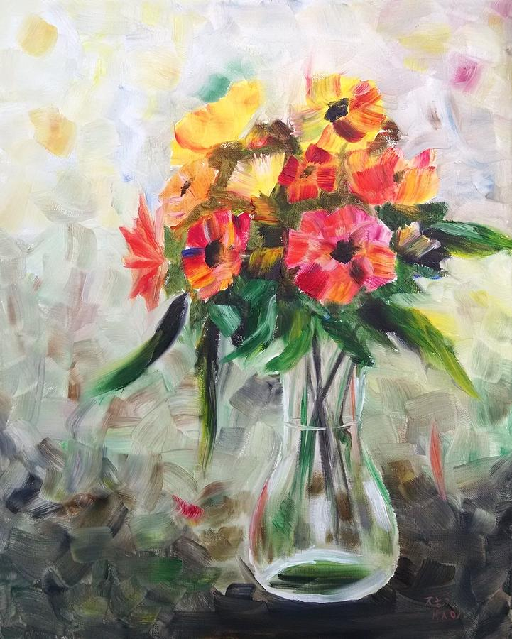 Flowers In A Vase Painting - Flowers in a Vase 2 by Helian Osher