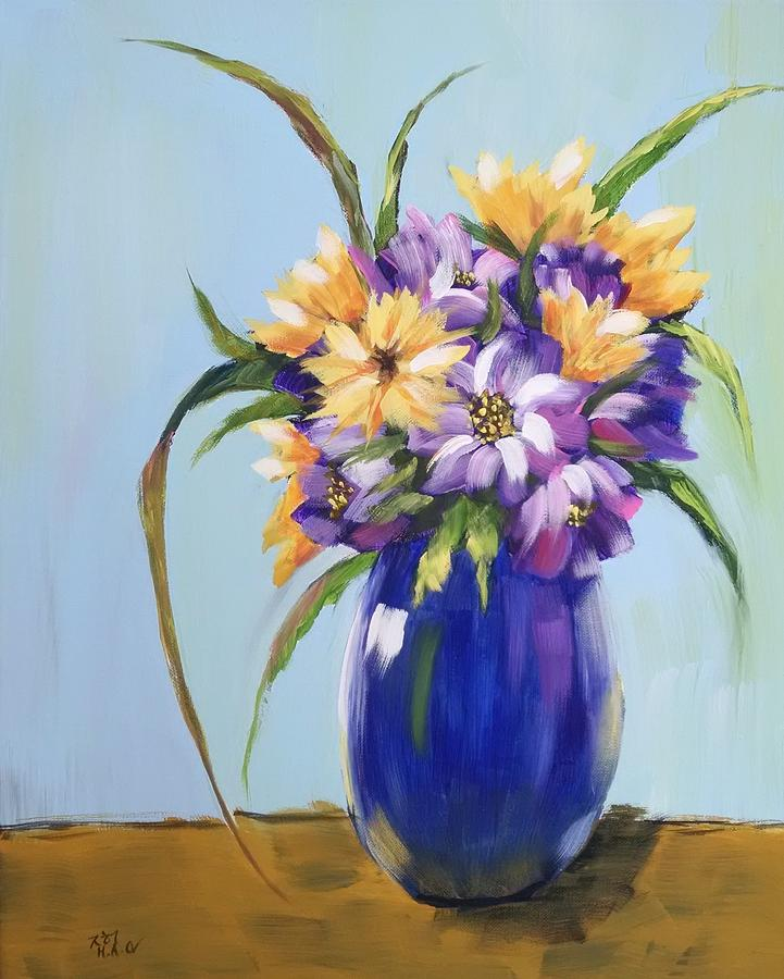 Flowers Painting - Flowers In A Vase 4 by Helian Osher
