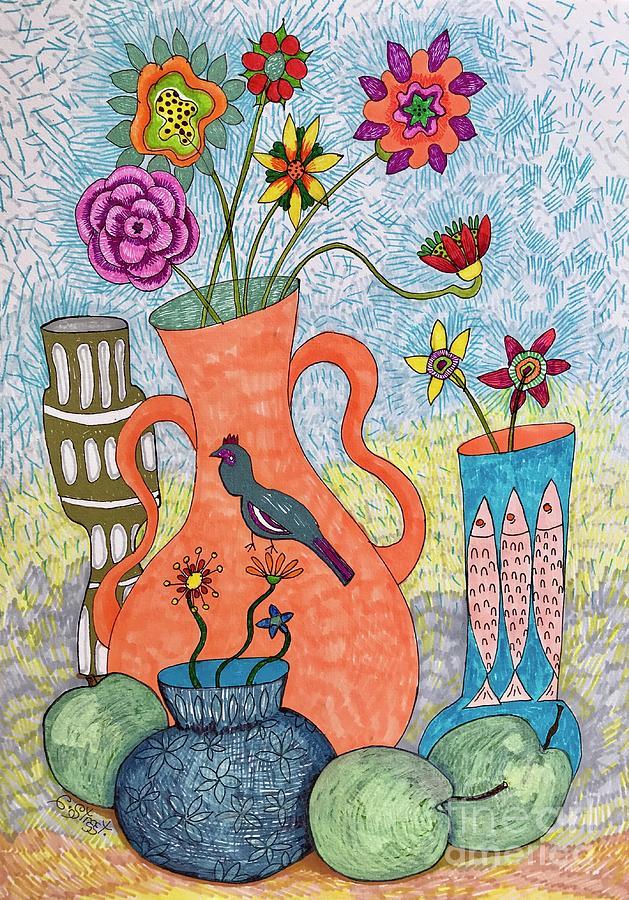 Flowers In Bird Vase Drawing