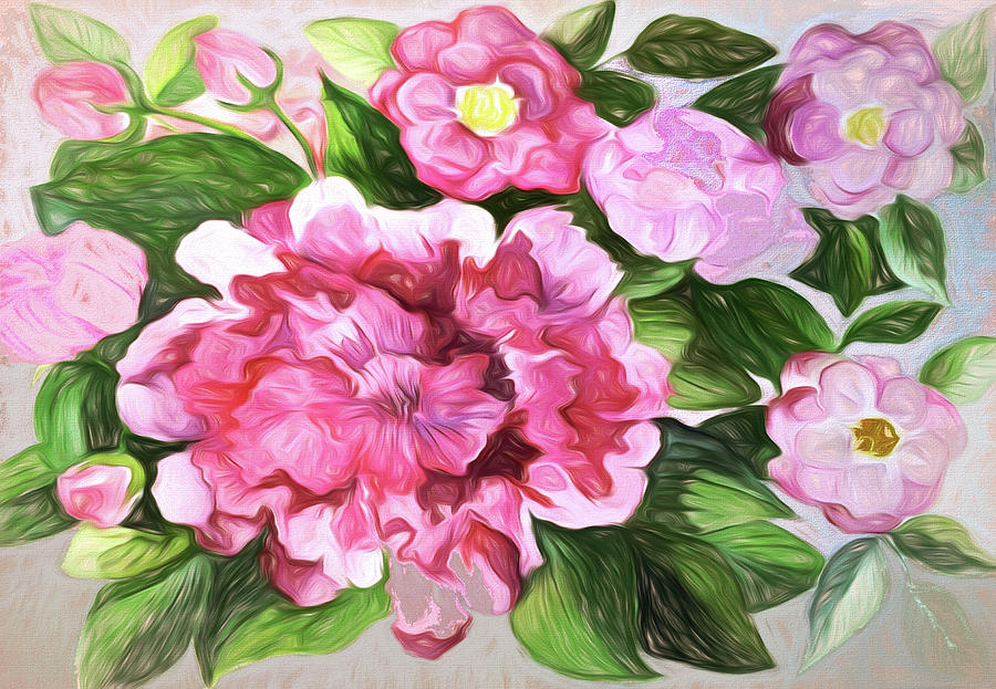 Flowers In Pink Mixed Media