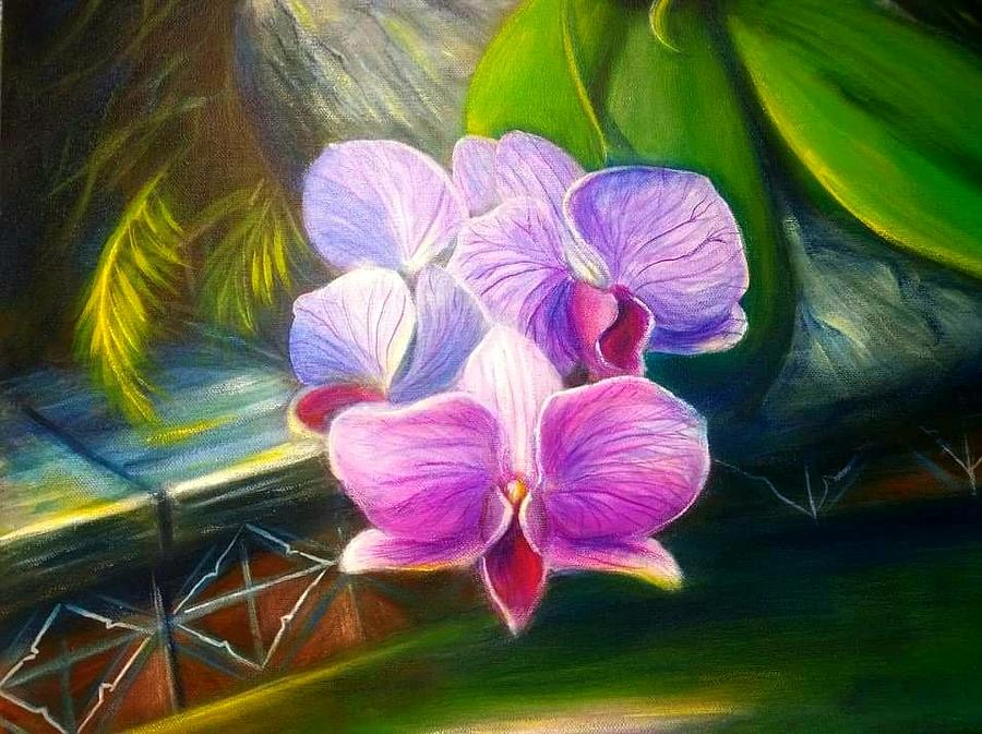 Flowers Patio Painting by Larry Palmer