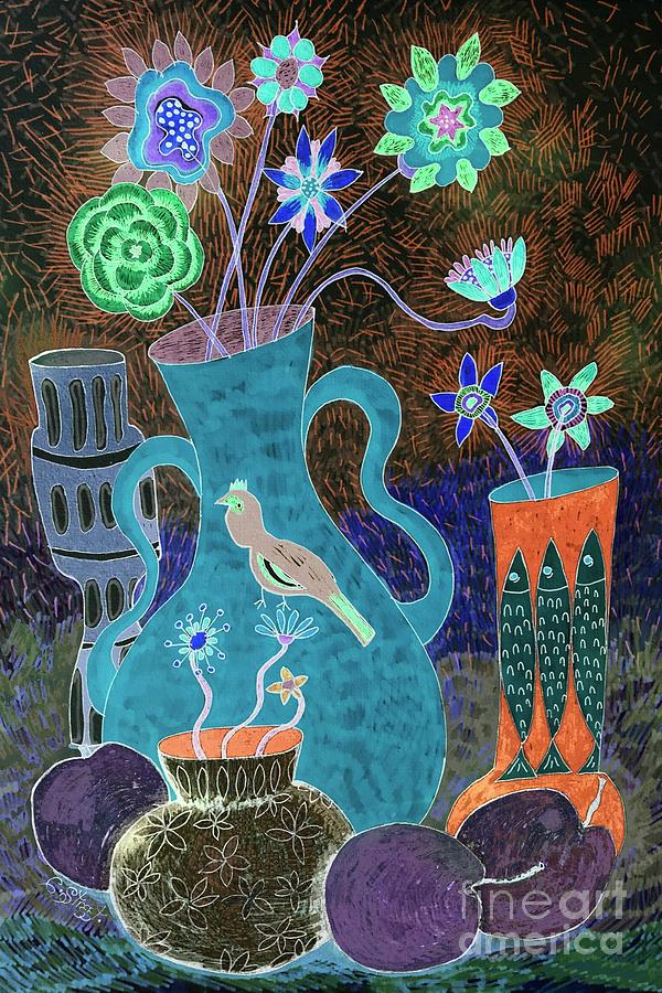Flowers With Fish Vase Drawing