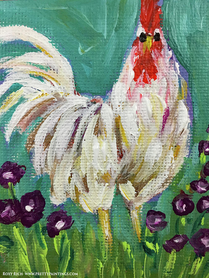 Fluffly White Rooster Painting