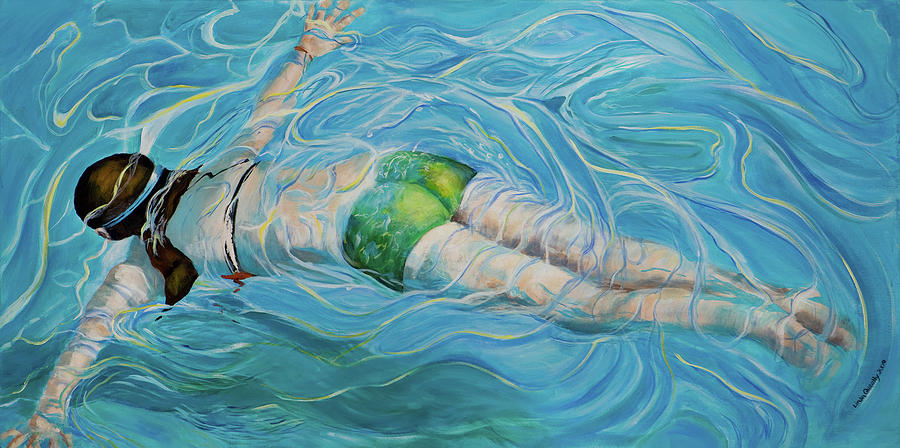 Swimming Pool Painting - Fluid Movement by Linda Queally