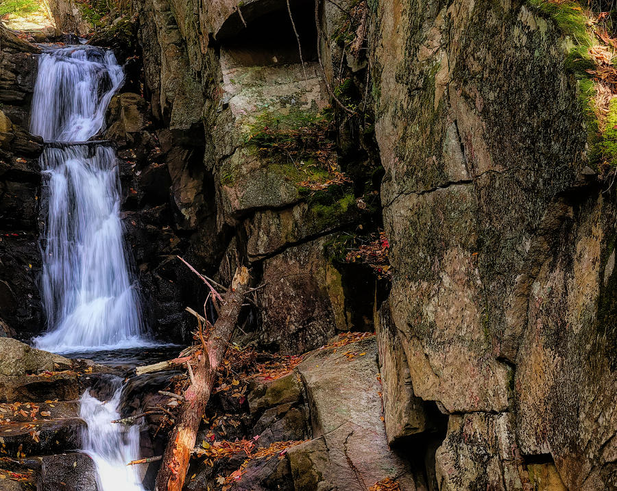 Flume Brook Waterfall at Dixville Notch New Hampshire. by Rusty R Smith