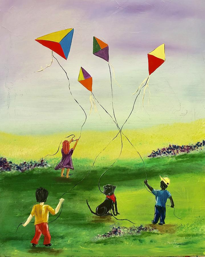 Children Painting - Flying kites by Mary Rimmell