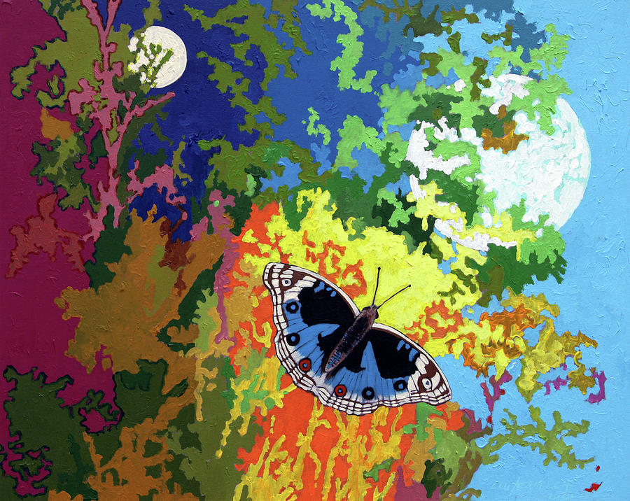 Moth Painting - Flying To The Light by John Lautermilch