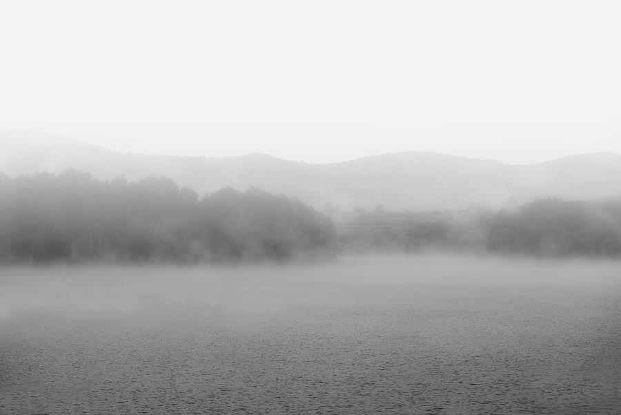 Black And White Photograph - Fog In The Dam Reservoir In Black And White by Vicen Photography