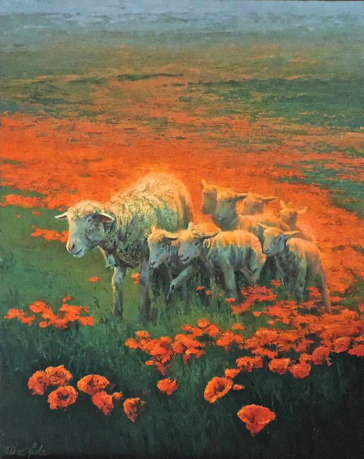 Sheep Painting - Follow Me Home by Mia DeLode