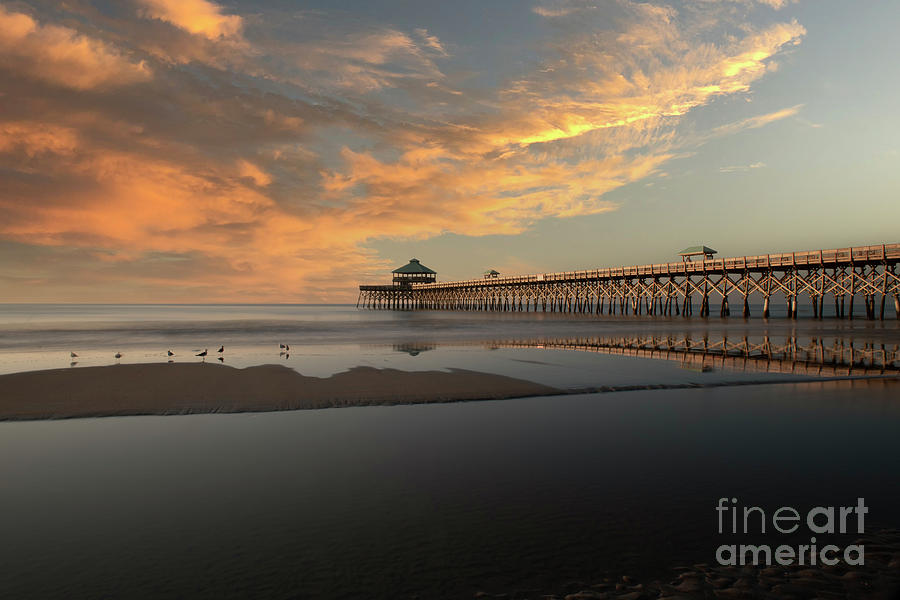 Folly Beach Fishing Pier In Charleston Sc And Low Tide Photograph