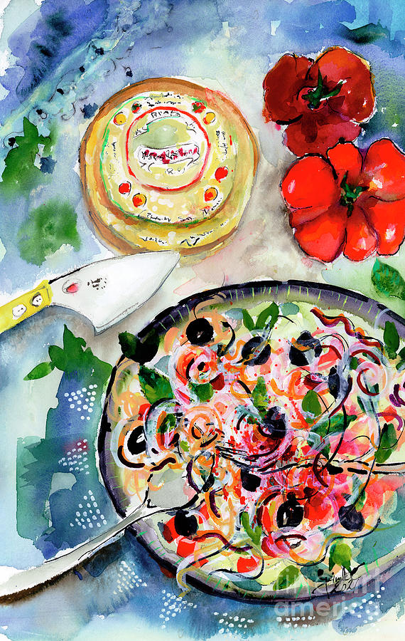 Food Art Gourmet Italian Kitchen Pasta Cheese Painting by Ginette Callaway