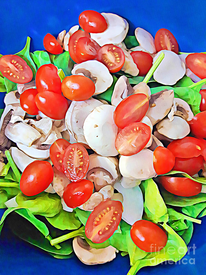 Food Art Salad Tomatoes Mushrooms Spinach by Tracy Ruckman