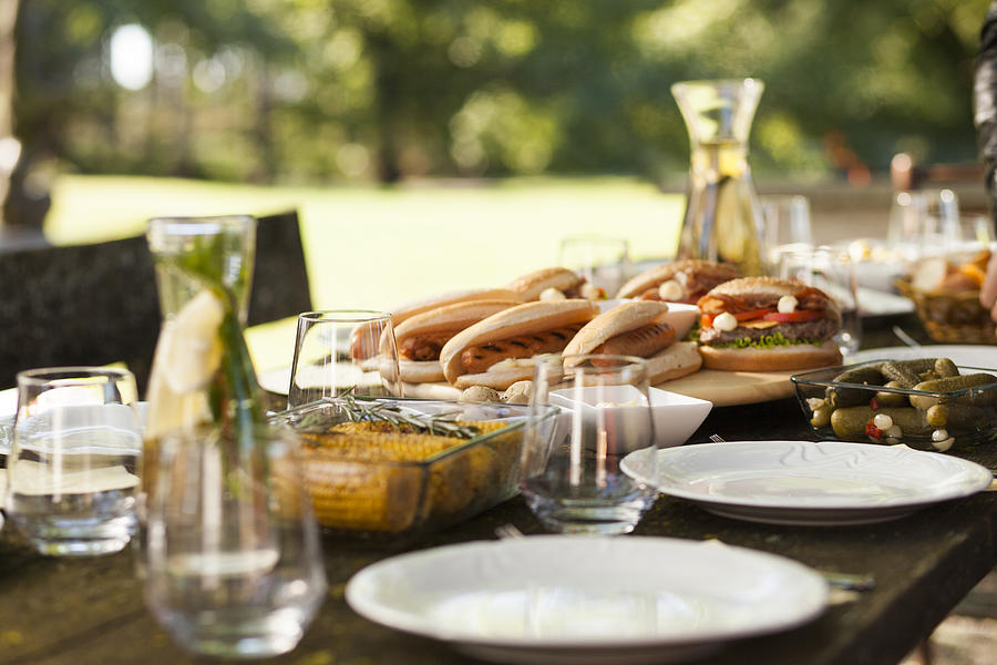 Food on a picnic table Photograph by Tomazl