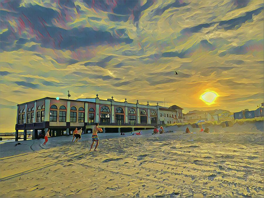 Football On The Beach At Sunset Digital Art
