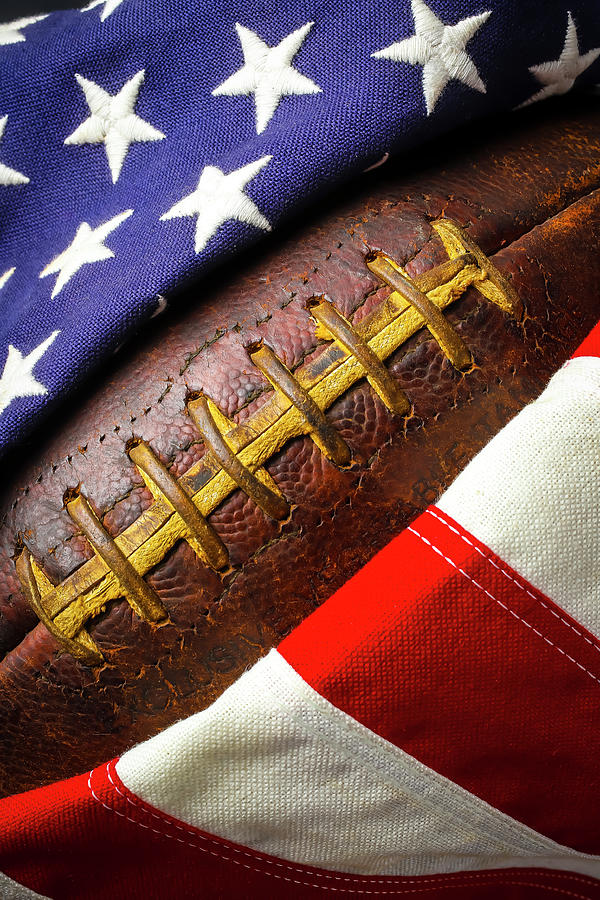 Football Wrapped In American Flag by Garry Gay
