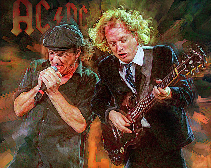 Angus Young Mixed Media - For Those About to Rock We Salute You by Mal Bray
