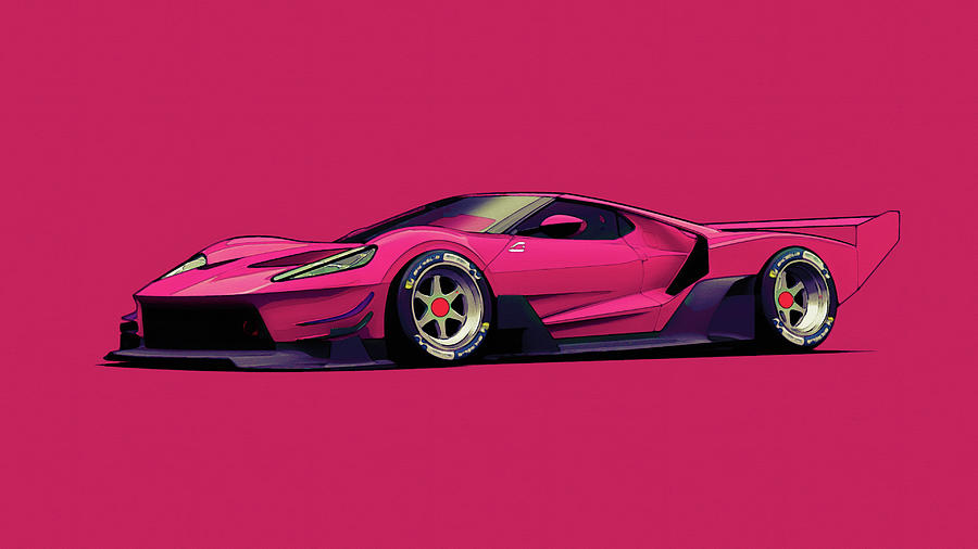 Ford GT C Vgt Minimal Red - Modern Cars Poster, watercolor ca 2020 by Ahmet Asar Digital Art by Celestial Images