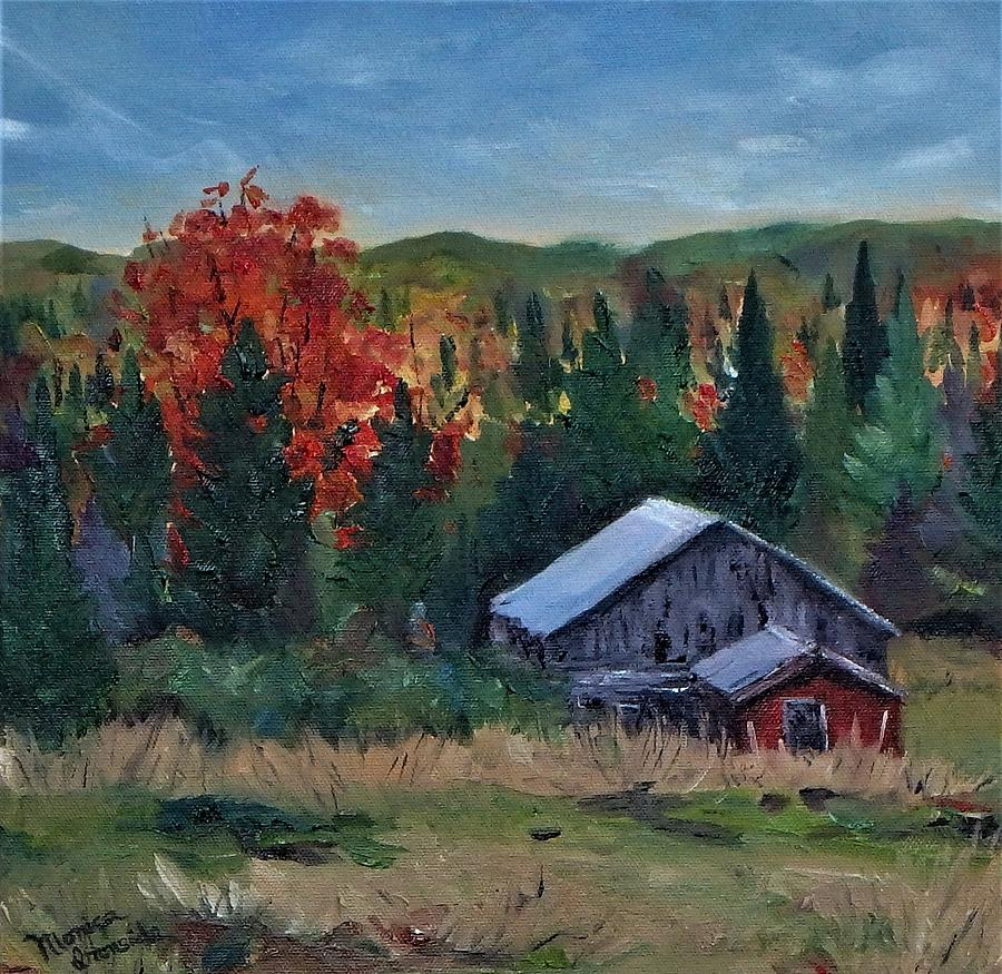 Landscape Painting - Forest Barn by Monica Ironside