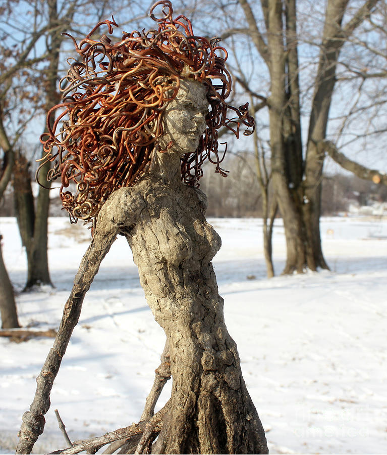 Forest Figure In The Snow Sculpture