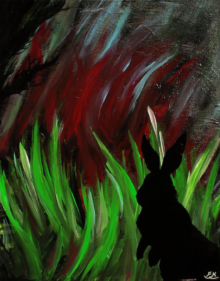 Rabbit Painting - Forest Flight by Franklin Kielar