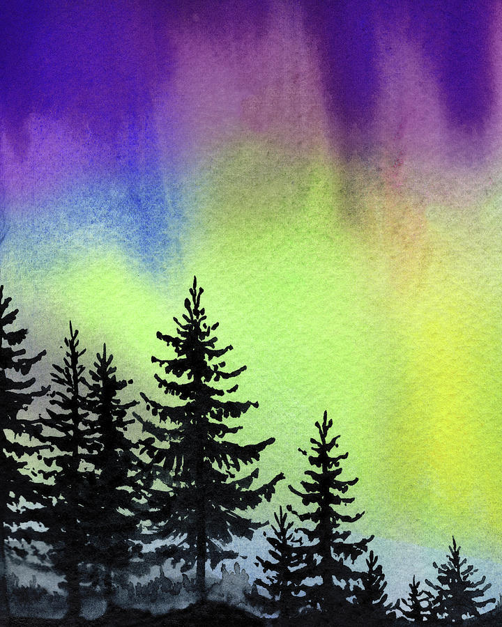 Forest Northern Lights Aurora Borealis Watercolor Painting