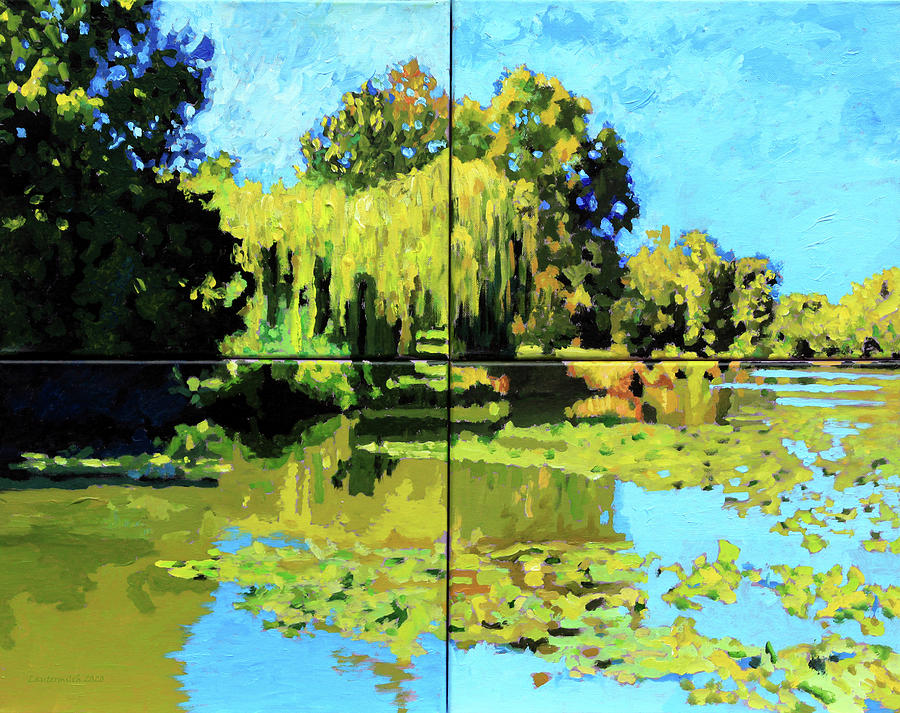 Lake Painting - Forest Park Lake by John Lautermilch