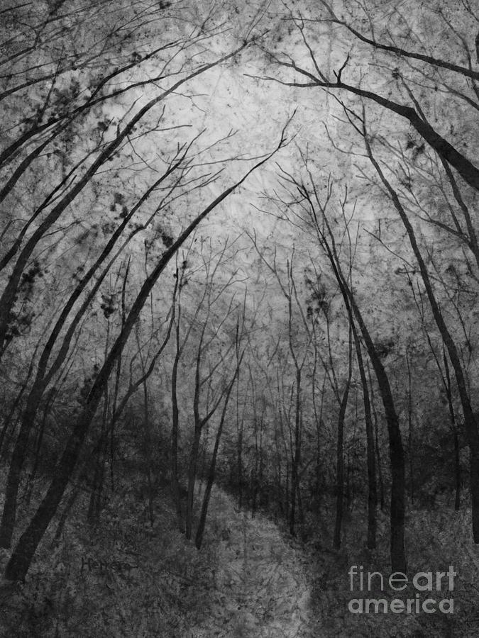 Path Painting - Forest Path in Black and White by Hailey E Herrera