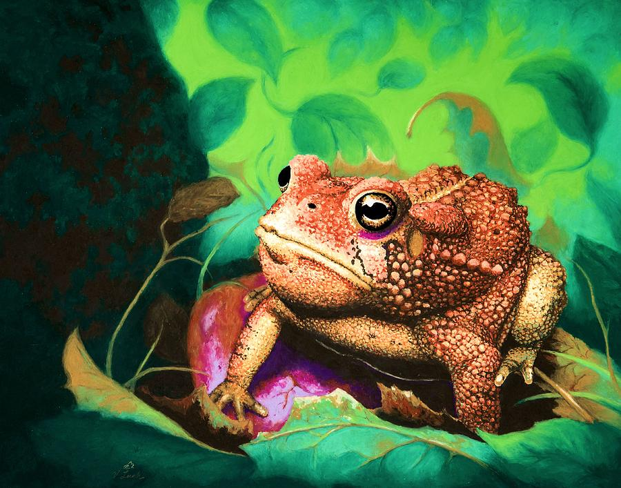 Nature Pastel - Forgotten Prince / surreal macro toad nature pastel print by V Leigh Carr