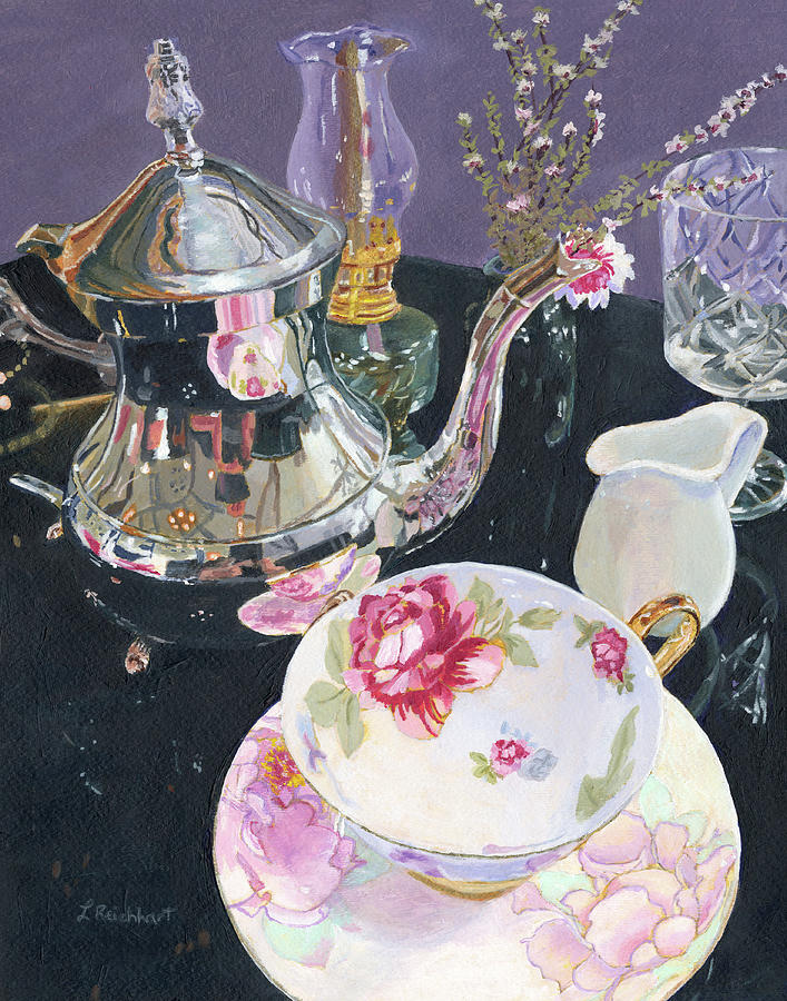 Still Life Painting - Formal Tea by Lynne Reichhart