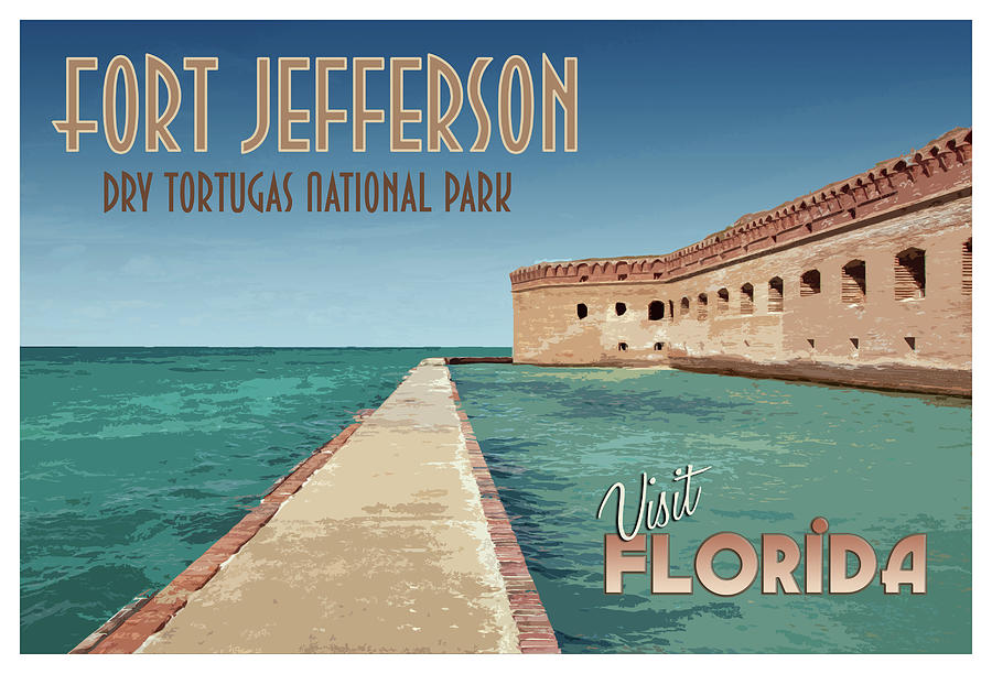Fort Jefferson Dry Tortugas Travel Poster by Kristia Adams