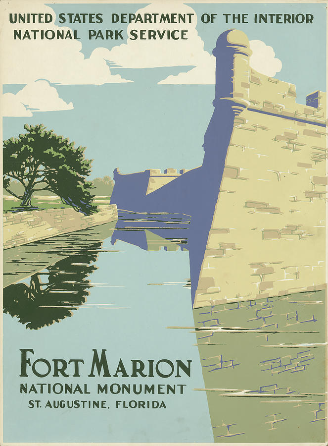 Fort Marion National Monument Vintage Poster Drawing By Us National Park Service