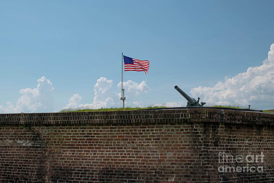 Fort Moultrie Wall - Big Gun - Star And Stripes Photograph