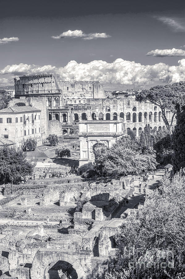 Italian Scene Photograph - Forum Romanum with The Colosseum in the background BW by Stefano Senise Fine Art of Italy