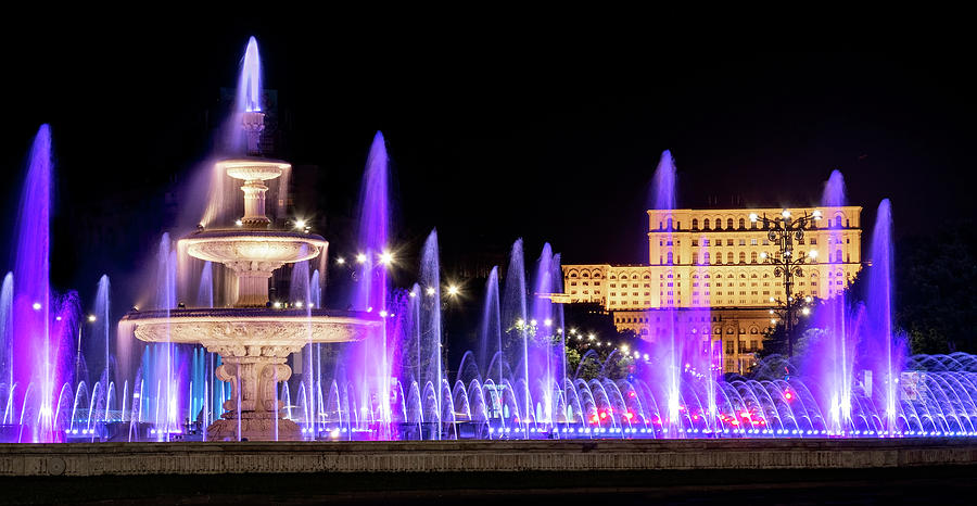 Bucharest Photograph - Fountains of Bucharest and the Place of Parliament at Night - Romania by Barry O Carroll