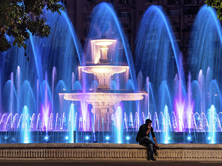 Bucharest Photograph - Fountains of Bucharest at Night - Romania by Barry O Carroll