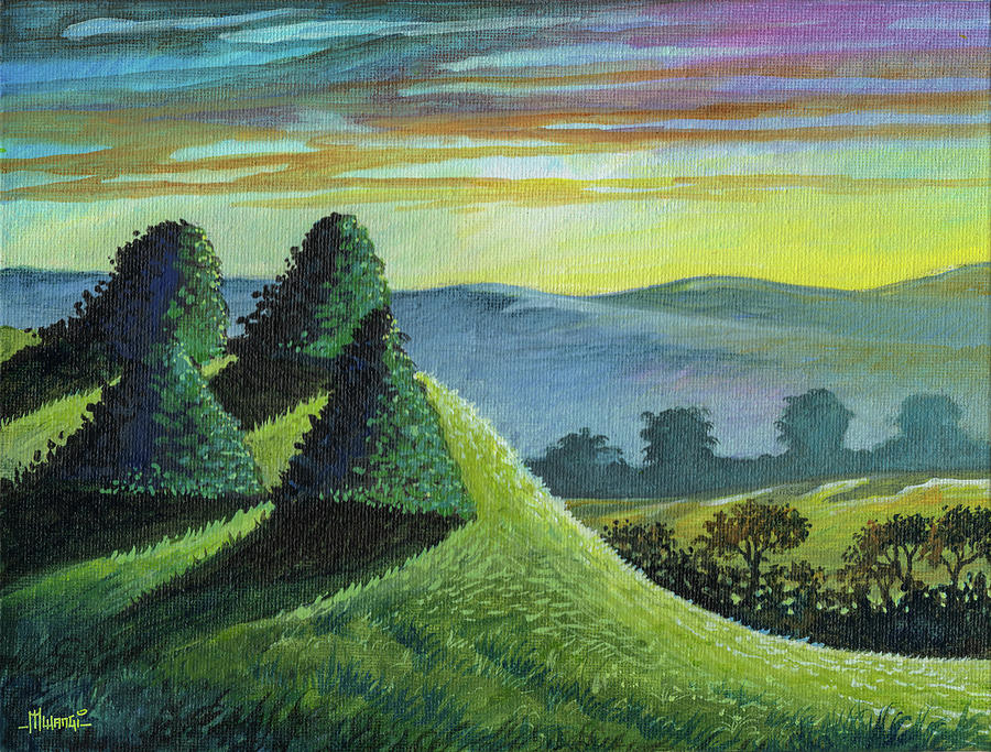 Four Trimmed Bushes Painting